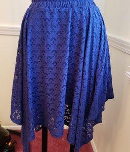 Royal blue multi-layered bi-level midi skirt